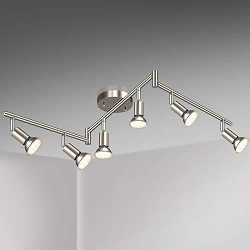 Unicozin LED 6 Light Track Lighting Kit, Matt Nickel 6 Way Ceiling Spot Lighting, Flexibly Rotatable Light Head, Modern Track Light Included 6 x LED GU10 Bulb (4W, Warm White 2700K, 400LM)