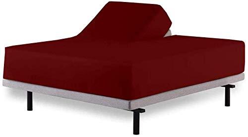 Aashi Rainwear Split Head Bed Sheet Set King 4 Pcs - Adjustable Split-King Size Burgundy 100% Cotton Sheets 400 TC - Spilt Top Sheet Set - Split Head Sheets - 34 inches Split Down from The top