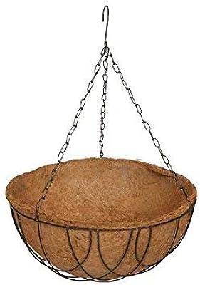 COIR GARDEN-Coir Hanging Round Basket 12 INCH 1 Piece - Coco Gardening POTS with Stand - Flower POTS Hanger Garden Decoration Indoor Outdoor Water Hanging Baskets