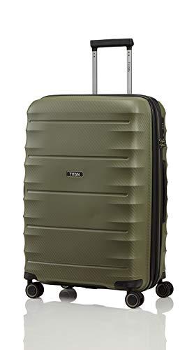 TITAN 4-Rad Koffer Größe M erweiterbar mit TSA Schloss, Gepäck Serie HIGHLIGHT: Leichte Hartschalen Trolleys im Carbon Look, 842405-86, 67 cm, 73 Liter (erweiterbar auf 79 Liter), khaki (grün)