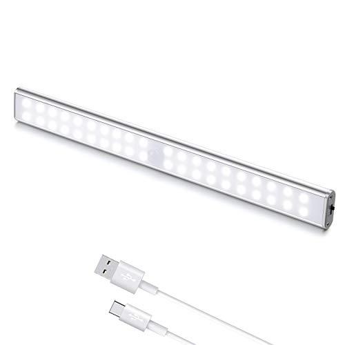 Luci LED Camera da Letto, 40 LED con Sensore di Movimento, Luci LED Ricaricabile con Striscia Magnetica Adesiva per Armadio, Scale, Corridoi, Cucina, Garage (1 Luce Bianca)