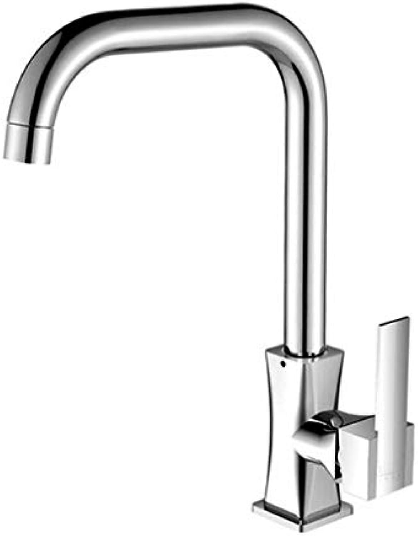 QXHELI Wasserhahn Küche Wasserhahn Chrom Kupfer Ventil kann gedreht Werden (Gre  B)