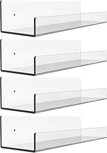Yieach Schwebendes Wandregal aus Acryl, weiß, 15 weiße Wandmontage, Kinderzimmer, Bücherregal für Kinderzimmer, modernes Design, zur Aufbewahrung von Spielzeug, Wandregal, weiß (transparent, 4)