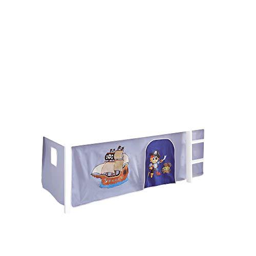 Jugendmöbel24.de Vorhang Pirat 3-teilig 100% Baumwolle hellblau/blau Kinderzimmer Stoffvorhang inkl Klettband für Hochbett Kinderbett Spielbett Etagenbett
