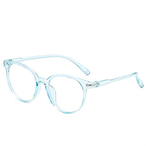 WWWL Gafas de Lectura, Gafas de luz Anti Azules Bloqueo Filtro Redondo Computadora Gafas Hombres Mujeres Super Luz Marco Lentes Rosa Claro Gamiles (Color : 2, Size : +100)