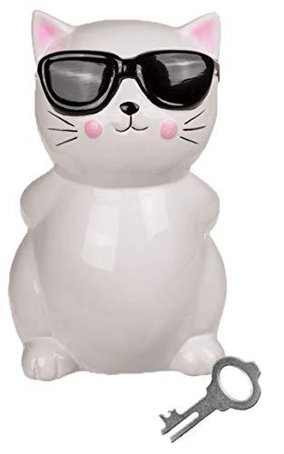 Bada Bing Spardose Coole Katze Kätzchen Mit Sonnenbrille Für Liebhaber Ca. 19 cm Weiß Sparschwein Mit Schlüssel Zuckersüß Geschenk Trend 50