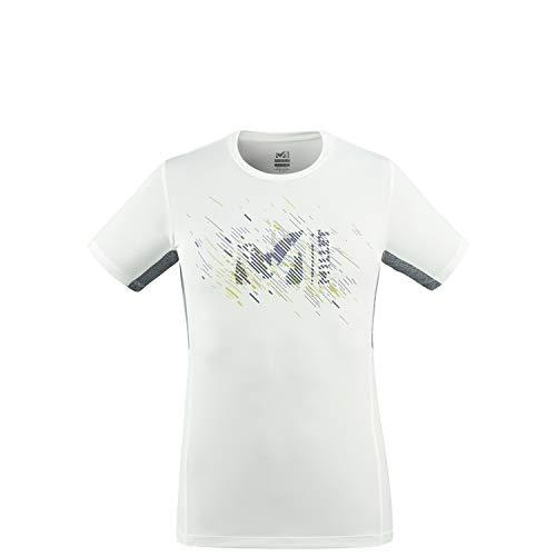 Millet - LTK Print Light TS SS M - T-shirt Sport Homme - Respirant - Randonnée, Approche, Lifestyle - Blanc/Gris