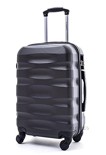R.Leone Valigia da 1 Fino a Set 4 Trolley Rigido grande, medio, bagaglio a mano e beauty case 4 ruote in ABS 2050 (Grigio, L ( Grande ))