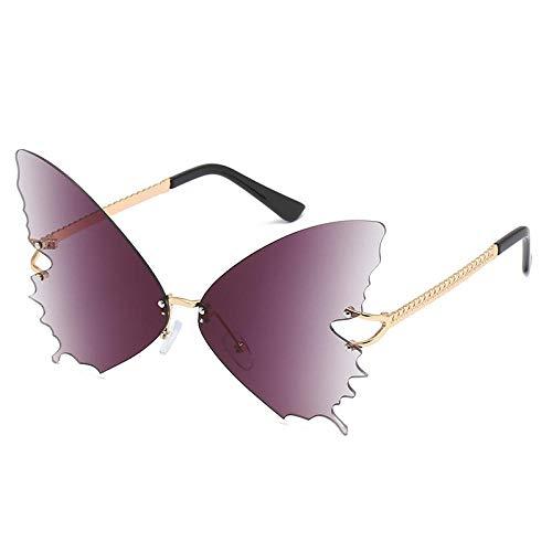 YHKF Gafas De Sol Mariposa Gafas De Sol Sin Montura Mujer Ojo De Gato Gafas De Sol De Gran Tamaño Gradiente Moda Gafas De Sol De Moda-B