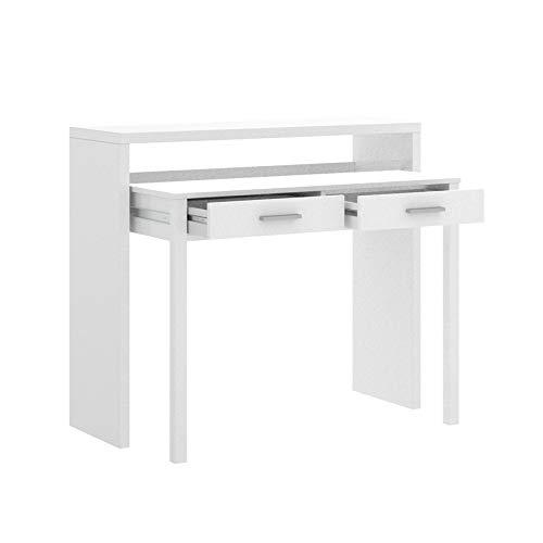 HABITMOBEL Cajonera Pasillo Extensible, Mesa Estudio Consola, Color Blanco Brillo, Medidas: 99 x 88 x 36-70 cm de Fondo ✅