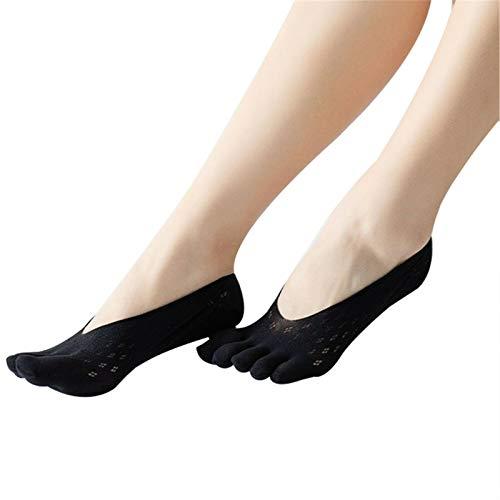 TIANMA 5 Stück Sommer Damen Zehensocken Orthopädische Kompressionsstrümpfe Ultra Low Cut Liner Mit Gel Tab, rutschfeste Versteckte Unsichtbare Socken (Schwarz)