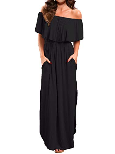 VERABENDI Women's Off Shoulder Summer Casual Long Ruffle Beach Maxi Dress with Pockets Black L