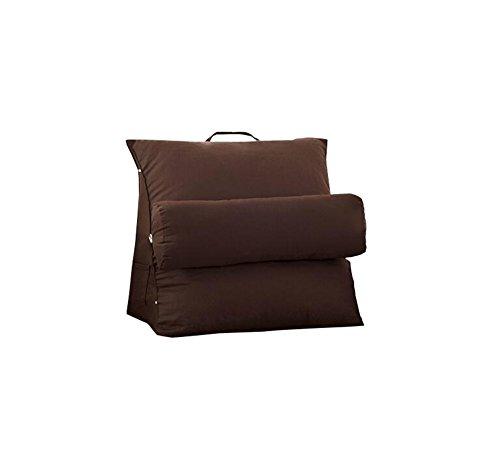 Réglage triangulaire Coussin/coussin de cale arrière, canapé-lit de bureau Toile Coussins de grand repos Coussin de soutien au cou (brun foncé) (taille : 57*47*27cm)