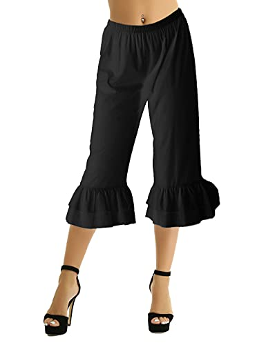 FEESHOW Victorian Lady Pantaloons Ruffle Bloomers Underpants Costume Fancy Dress Long Bloomers Black Large