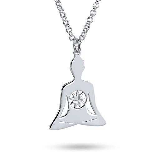 Mediation Celestial Buddha With Fairy North Star Heptagram Pendant Necklace For Women Teen For Yogi 925 Sterling Silver With Chain