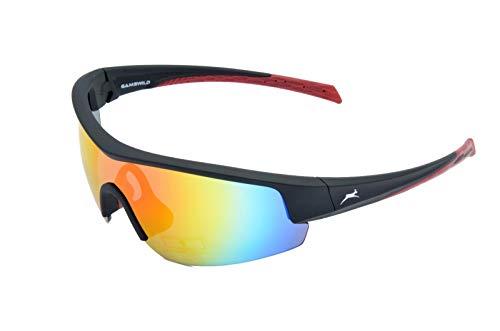 Gamswild Sonnenbrille WS2436 Sportbrille Skibrille Damen Herren Fahrradbrille Unisex   blau   schwarz   weiß, Farbe: Schwarz