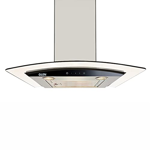 Glen 60 cm 1000 m3/hr Curved Glass Wall Mount Kitchen Chimney Touch Controls Baffle Filter (6071 EX...