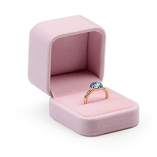 Oirlv Velvet Jewelry Boîte à bagues pour femmes, boîte-cadeau rose pour femmes, accessoires de photographie de présentoir de comptoir