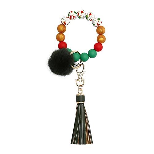 YUNYI Schlüsselanhänger Armband, Wristlet Armreif, Weihnachten Schlüsselanhänger Armband, Perlen Armreif Schlüsselanhänger Wristlet Leder Quaste, Ornamental Wristlet, für Frauen