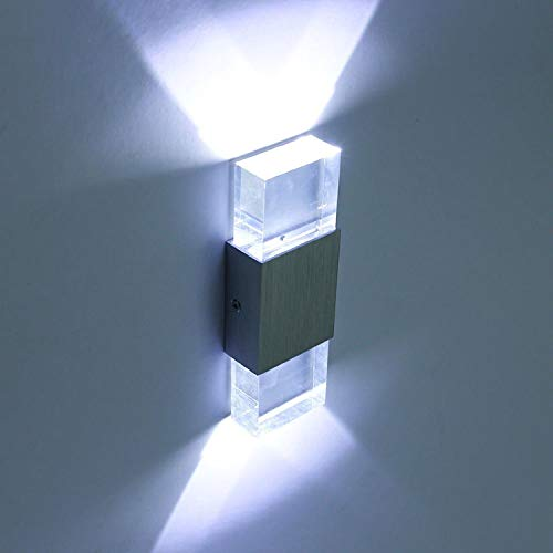 SISVIV 6W Apliques de Pared Led Lampara de Pared Interior Moderna en Acrílico y Aluminio para Pasillo, Escalera, Dormitorio, Salon Luz, Blanco Frío