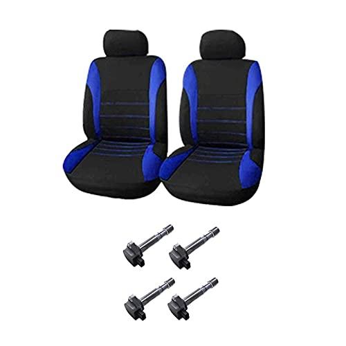 gis 2 set Accessori auto: 1 Set Automobiles Seat Covers Copre sedili per auto anteriori Black-Blue & 1 Set bobine di accensione (Color : Dark Green)