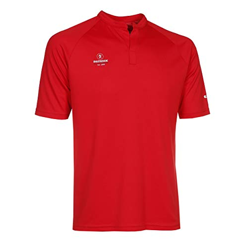 Sport Poloshirt Herren Kurzarme V Ausschnitt - tailliert T-Shirt Rot L für Männer, Ideal für Tennis, Badminton, Golf, Laufen, Fitness und Feldhockey