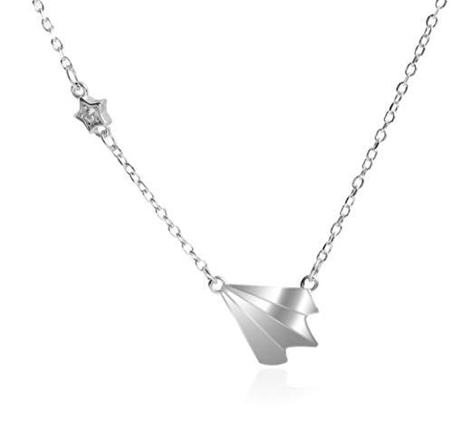 FOR TMT Damen Halskette Japanischen Stil Einfache Kleine Sterne Halskette Kindheit Flugzeuge Kurze Schlüsselbein Kette S925 Sterling Silber Mini Papier Flugzeug Halskette