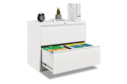 Bonnlo Lateral File Cabinet Lockable with 2 Drawers, White, Assembly Required