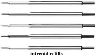 5 Genuine Intrepid Black Medium Point for Papermate Lubriglide, Aspire, PhD Pens, Bulk Packed (Black)