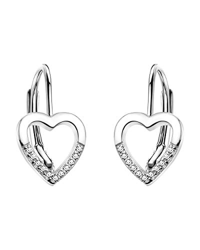 SOFIA MILANI - Damen Ohrringe 925 Silber - mit Zirkonia Steinen - Herz Ohrhänger - 20847