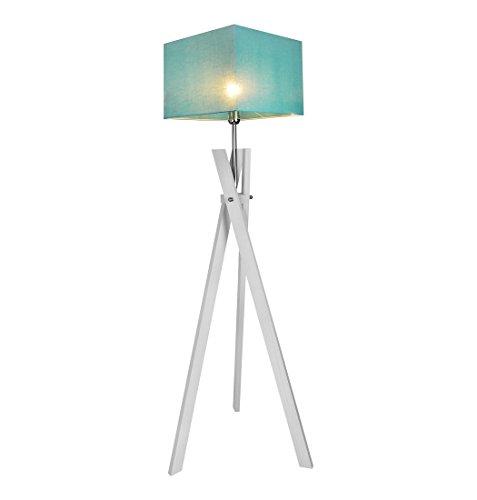 Stehlampe Stehleuchte HausLeuchten SL5TUD-WEIß aus Massivholz Deckenfluter Standleuchte (TÜRKIS)