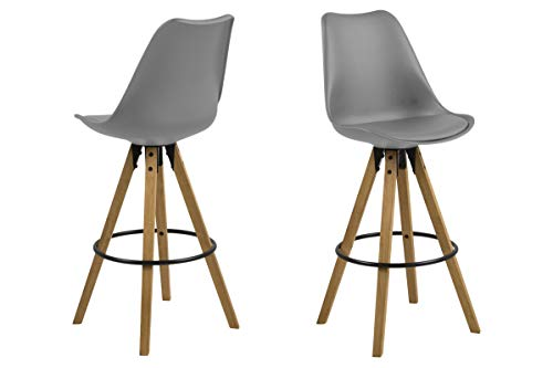 Tima - Set of 2 bar stools, grey cushion, center legs rubber wood, oak stained, oil treated