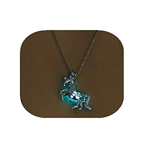 Collar luminoso con colgante de caballo que brilla en la oscuridad, collar de joyería vintage para mujer (azul y verde)