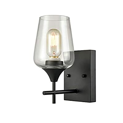 Matte Black Simplicity 1 Light Clear Glass Wall Sconce Industrial Bathroom Vanity Lighting