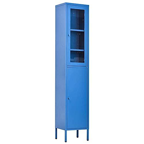 Bakaji Armadietto Armadio Mobile Mobiletto 2 Ante 6 Scomparti Ripiani in Metallo e Vetro Design Moderno Industriale Colore Blu Dimensioni: 35 x 30 x 180 cm Arredamento Casa