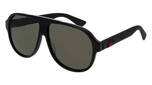 Gucci GG0009S 001 59M Black/Green Pilot Sunglasses For Men+FREE Complimentary Eyewear Care Kit