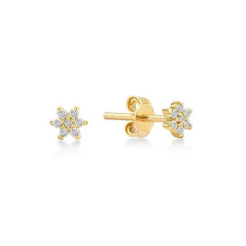 GELIN 14k Yellow Gold 0.04 ct Diamond Daisy Flower Stud Earrings for Women