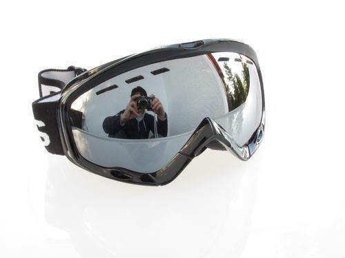 Ravs Unisex skibril, helmcompatibel, dubbel glas, 100% uv-bescherming, Xtra zilver + spiegelglazen, best contrast, spiegelglas