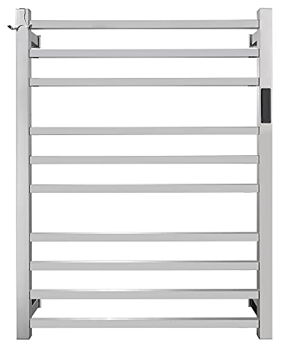 Keonjinn Towel Warmer for Bathroom Electric Heated Towel Rack with Built-in Timer 10 Bars Wall Mounted Bath Towel Heater Hardwired and Plug in, 304 Stainless Steel Polished 24 x 32 Inch Towel Rack