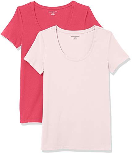 Amazon Essentials Paquete de 2 Camisetas de Manga Corta con Cuello Redondo, Rosa Brillante/Rosa Claro, XL, Pack de 2
