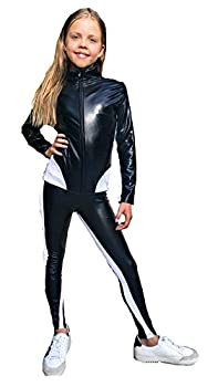 ARILANA K.C Undercover Show Cosplay Outfit for Girl Full Body Stretch Unitard Halloween Black and White Jumpsuit  8Y
