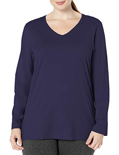 Just My Size Women's Plus Size Vneck Long Sleeve Tee, Hanes Navy, 2X