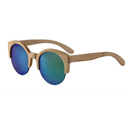 GY-HHHH Gafas de sol coloridas de madera maciza de media montura - gafas de sol deportivas para montar - gafas de balneario - protección UV400 - Azul 2