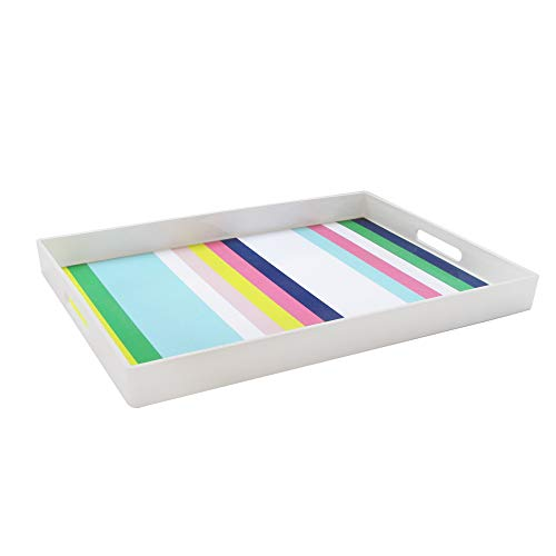 Trina Turk Rectangle Serving Tray- Indoor Outdoor Platter for Home Entertaining Cocktail Hour Snacks Decor Display for Jewelry Candles Barware Perfume 14x19 Stripes
