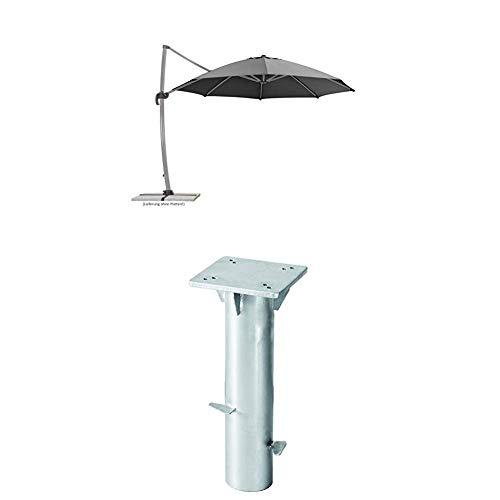 Schneider Sonnenschirm Rhodos Rondo, anthrazit, 350 cm rund, Gestell Aluminium, Bespannung Polyester, 22.4 kg + Universal-Bodenplatte