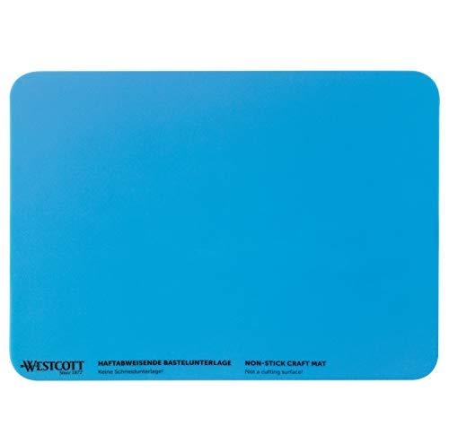 WESTCOTT Bastelunterlage I rutschfeste Bastel-Matte I hitzebeständiges Silikon I 227 x 304 mm I DIN A4 I flexibel I rollbar I blau I E-16814