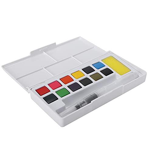 Juego de Pintura de Acuarela Profesional, Caja de Plástico Portátil, Pigmento de Acuarela Lavable, Pintura de 12/48 Colores con Esponja para Bolígrafo para Estudiantes Principiantes Y Más(12 colores)