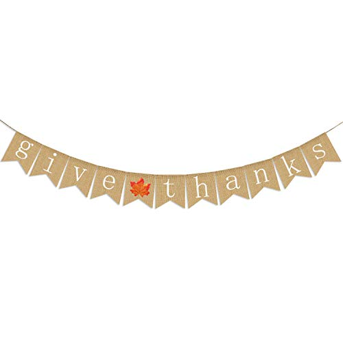 Give Thanks Burlap Banner | Thanksgiving Banner Decoration | Thanksgiving Banner Burlap | Thankful Give Thanks Party Home Decoration Supplies