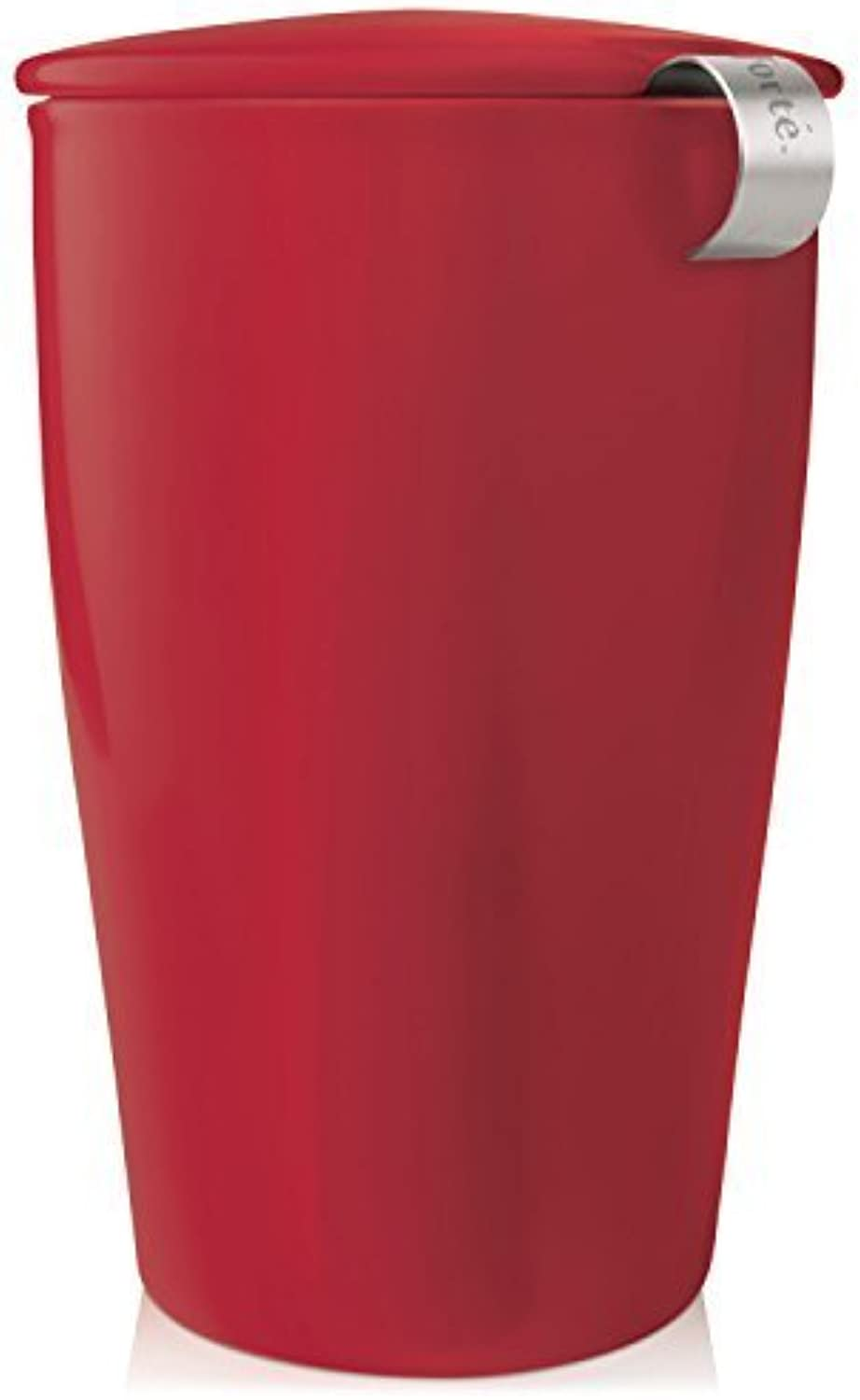 Tea Forte KATI Single Cup Loose Leaf Tea Brewing System, Insulated Ceramic Cup with Tea Infuser and Lid, Cranberry rouge - nouveau Infuser Design by Tea Forte