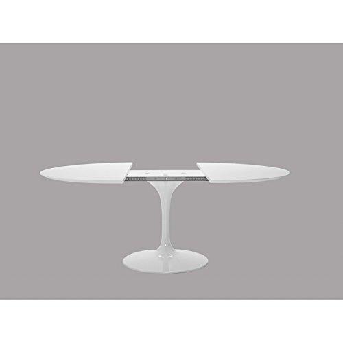 Mesa Tulip Eero Saarinen extensible diámetro 120 cm laminado líquido blanco base blanca